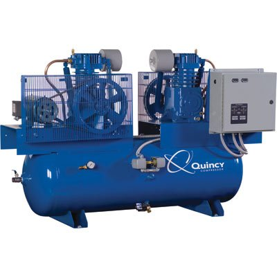 - Quincy Air Compressor - Duplex, 5 HP, 230 Volt 3 Phase, Model# 253DC80DC23