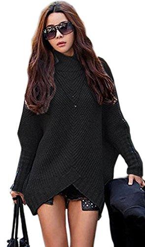 mikosdamen-poncho-strick-pullover-jacke-cardigan-fledermausarmel-japan-style-sm-schwarz-grau-423-sch