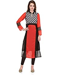 LizaFab Red Color Georgette Fabric Women's Straight Kurti