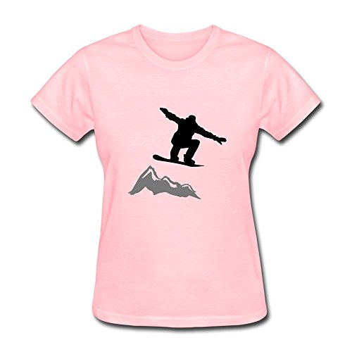 Womens Snowboarder Jump Mountain Fashion T-Shirt Size S Color Pink