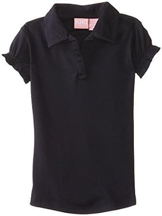 KHQ Big Girls'  Short Sleeve Interlock Puff Sleeve Woven, Navy, Small