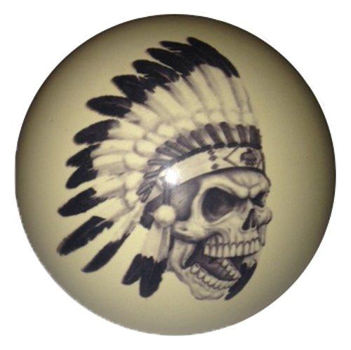 Indian Chief Skull Cue Ball Custom by D&L Billiards