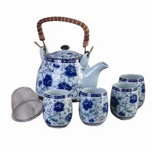 Elegant Porcelain Tea Set - Blue Floral Tea Pot with Four Cups and Diffuser