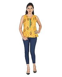 Parinita Women's Straight Sleeveless Top(150115_YELLOW-M, Yellow, Medium)