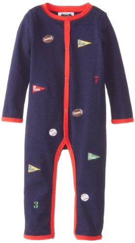 Mud Pie Baby-Boys Newborn Sports Embroidered One Piece, Blue, 0-6 Months front-1062954
