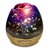Night Light for Kids SCOPOW Romantic Flower Bud Shape 360 Degree Rotating Star Projector Night Lamp