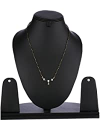 Zeneme American Diamond Silver & Gold Plated Mangalsutra With Chain For Women