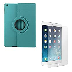 DMG PU Leather 360 Degrees Rotating Stand Case for Apple iPad Air 2 iPad 6 (Light Blue) + Matte Anti-Glare Screen Protector