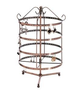Présentoir porte bijoux ou manège, tourniquet à boucles d'oreilles (96 paires) - Cuivre