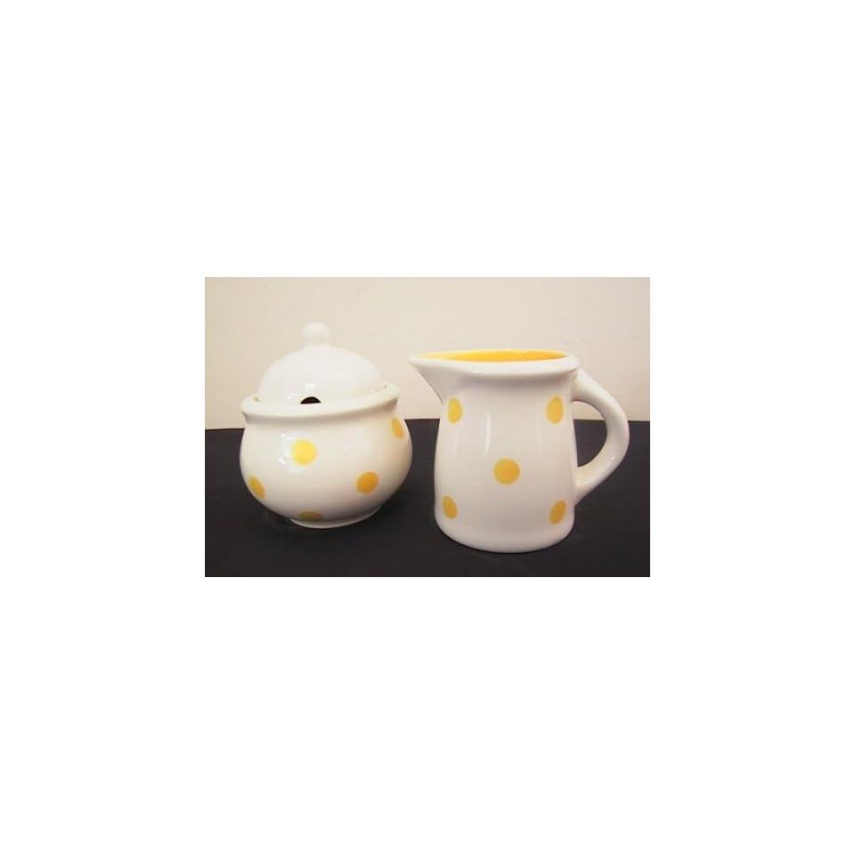 Ronnies Terramoto Ceramic, Cream & Sugar Set, Sunflower Yellow Polka Dots on White Base