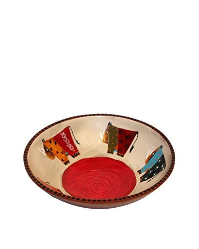 Asian Loft Wooden Zulu Decorative Tribal Bowl, Brown/Red/Multi