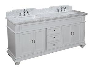 elizabeth 72 inch bathroom vanity carrara white includes white cabinet with soft close