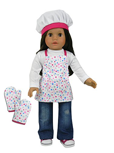 Doll baking apron set for 18 inch dolls 3 pc acessory set for Garden tools for 18 inch doll