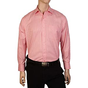 Peter England Men Shirts PSF 5110325 LightRed White