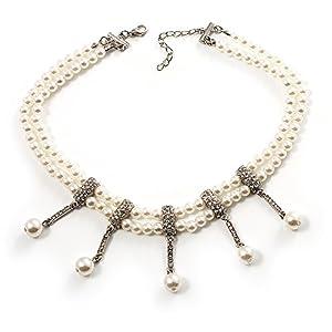 2 Strand Synthetic Pearl Bridal Diamante Choker Necklace (Silver Tone)