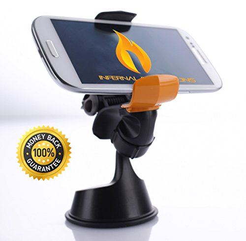 #1 Best possible Telephone Mount | Sprint Grasp Common Telephone Mount | Progressive One Hand Mounting Gadget | Top High quality Gel Suction Cup Mobile Telephone Holder For Automotive | 360° Rotation & Swivel | Windshield Mount | Suitable With iPhone 6/5s/5c/4s, Samsung S5/S4/S3, HTC One, Nexus five, Sony Xperia, Moto X, Nokia Lumia & Extra | GPS Holder | Expands Up To four"