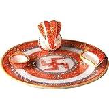 Marble Pooja Thali, Puja Thali, Aarti Thali- Kundan Studded Hand Painted Marble Pooja Thali Set With Sathia Ganesh...