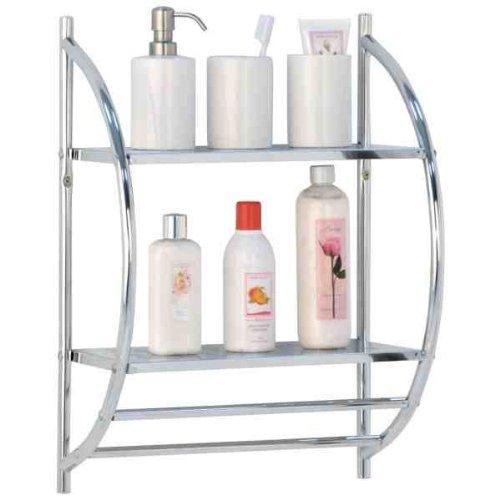 2 Tier Chrome Bathroom Shelf Rack with Double Towel Rail