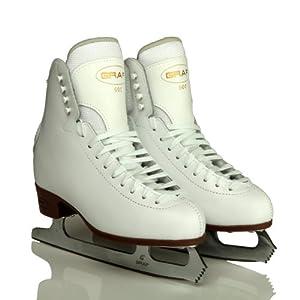 GIRLS ICE SKATES, GRAF 500, LEATHER + FREE FIFI SKATEGUARDS (SIZE UK 4 / EU 37)