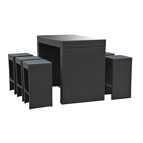 Outsunny 7pc Rattan Wicker Bar Stool Dining Table Set  : 41TYL4QkgpL from patioandfurniture.org size 500 x 500 jpeg 27kB