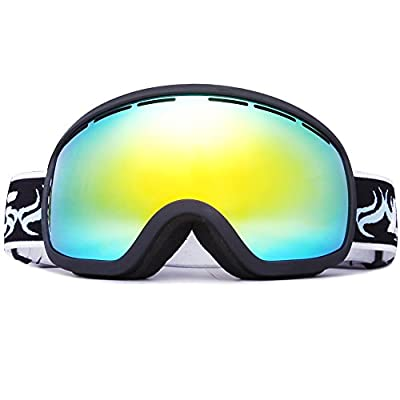 Benice Snowboard Skate Ski Goggles with Mirror coating Anti-Fog and UV-400 Protection Lens +Free Super quality EVA Ski Goggles Case
