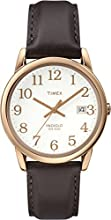 Timex Classic Men's Quartz Watch with White Dial Analogue Display and Brown Leather Strap - Timex® Easy Reader®