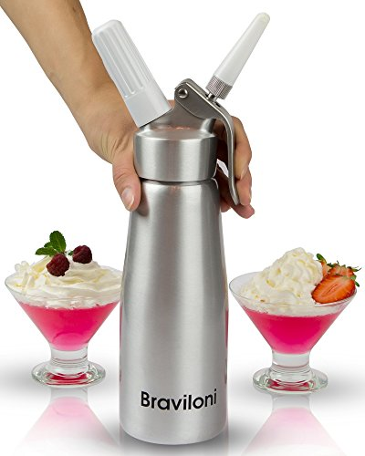 Whipped Cream Dispenser - Premium Cream Whipper 500 ml - Cake Decorating Nozzle Tips and Brush Set - Fits N2O Nitrous Oxide Cartridges and Chargers (not included) (Cooks Essentials Ice Cream Maker compare prices)