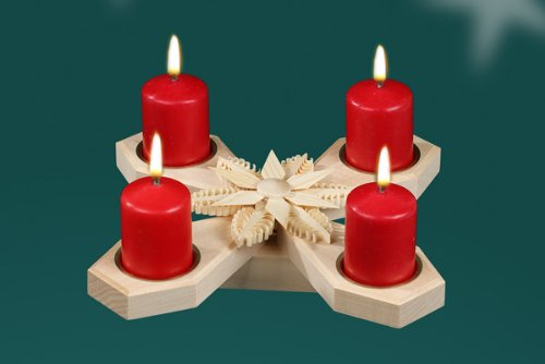 Advent candlestick 25 cm Candle holder Seiffen Ore Mountains NEW