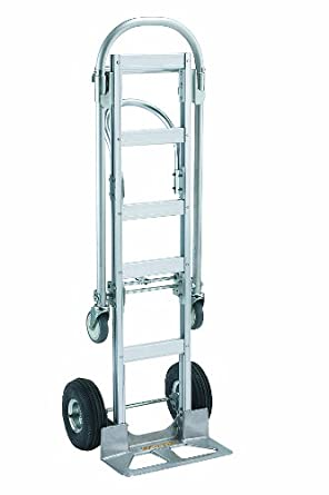 "Wesco 220001 Spartan Economy Aluminum 2 in 1 Senior Truck, Pneumatic Wheels, 1000 lbs Load Capacity, 61-1/2"" Height, 40"" Height, 51"" Length x 12"" Width"