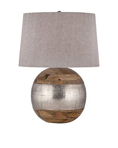 Artistic German Silver Table Lamp, Mango Wood/German Silver
