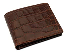 DataSafe 'Croc' Patterned Italian Leather Security Men's Bi-fold Wallet