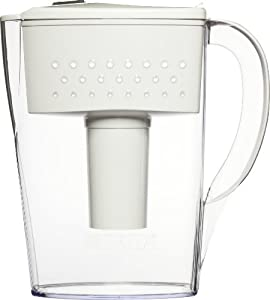 Brita Riviera Water Filter Pitcher, Chrome, 8 Cup