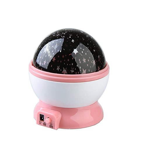 Rotating Romantic Star Moon Sky Cosmos Night Projector Light Lamp Pink - 1