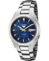 Snk615k 1-5 Seiko Men's Automatic Watch analogue watch, Blue Dial Steel Strap Grey