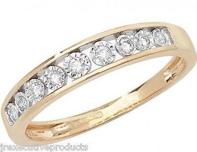 9ct Yellow Gold Illusion Set Diamond Half Eternity Ring 0.10ctw sizes G - W