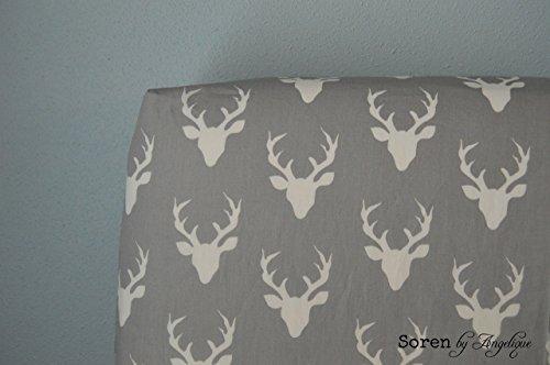 Soren by Angelique Grey Deer Head Contoured Changing Pad Cover