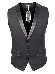 Zicac Men\'s Gentleman Top Design Casual Waistcoat Business Suit Vest (M/Asia Tag XXL, Grey)