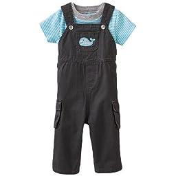 Carter\'s Boys 0-24 Months Whale Overall Set (Newborn, Grey)