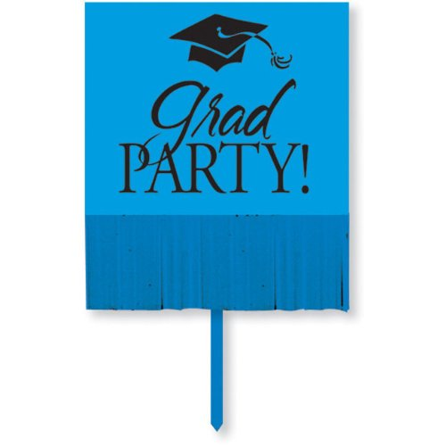 Creative Converting Yard Sign with Fringe, Blue Grad