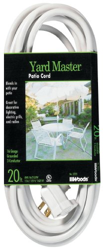 Yard Master 992222 20-Foot Outdoor Garden Extension Cord, White