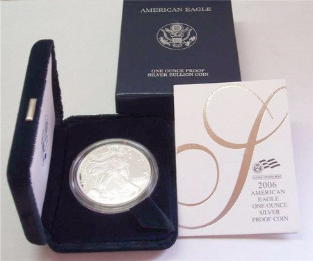 2006 AMERICAN SILVER EAGLE PROOF $1 DOLLAR COIN W/BOX
