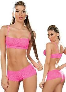 Sexy Hot Pink Lace Tank Crop Top Bra and Panties Set