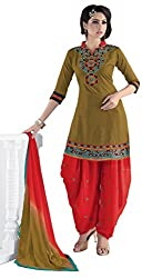 Justkartit Women's Unstitched Mehendi & Red Colour Dress Material For Daily Casual Wear / Beautiful Colour combination Patiala Style Salwar Suit With Dupatta (Fusion Colour Combination Salwar Kameez)