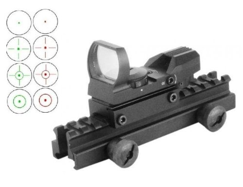 "Global Sportsman Qd Tactical 1"" Weaver-Picatinny High See Thru Stanag Riser Mount For Ar15 M4 Flattop Rifle Scope + Cqb 4 Multi Reticle Dual Red / Green Open Reflex Sight With Weaver-Picatinny Rail Mount - Combo Combination Package Kit Set Fits Ar15 M4 M1"