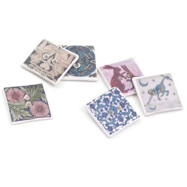 V&A Square Ceramic Button (Assorted)