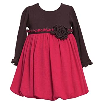 Size-12M BNJ-1509B FUCHSIA-PINK BROWN COLOR BLOCK KNIT BUBBLE SKIRT Special Occasion Girl Party Dress,B11509 Bonnie Jean BABY/INFANT