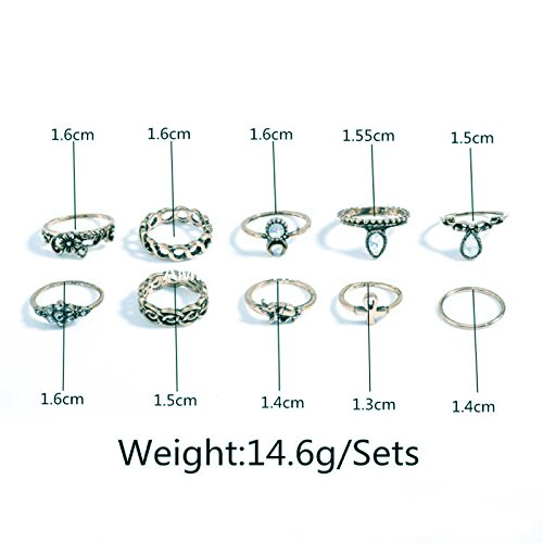 Imported-Set-of-10pcs-Silver-Alloy-Midi-Rings-Multiple-Finger-Stack-Knuckle-Band-Punk