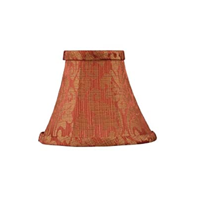 Livex Lighting S320 Bell Clip Chandelier Shade, Coral with Gold Leaf Design Silk