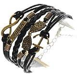 CargoMix Armband Unendlichkeit Anker und Eulen Bronze /Unendlichkeitssymbol / Infinity/ Faith/ Glaube /Kunstleder-Armband