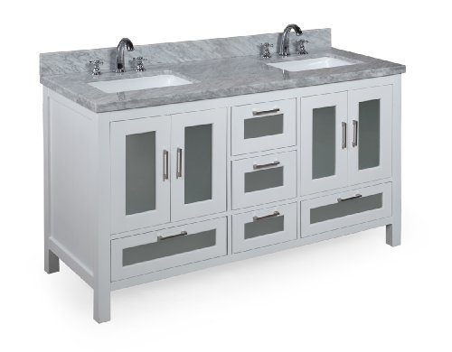 Manhattan 60 Inch Double Sink Bathroom Vanity Carrarawhite Includes Modern White Cabinet With